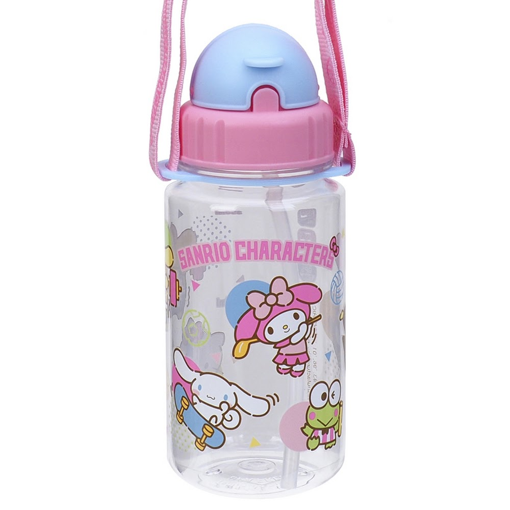 Mix Characters Water Bottle w/ Straw & Neck Strap 膠水樽連飲管及頸繩(350ml)(5天內發貨)