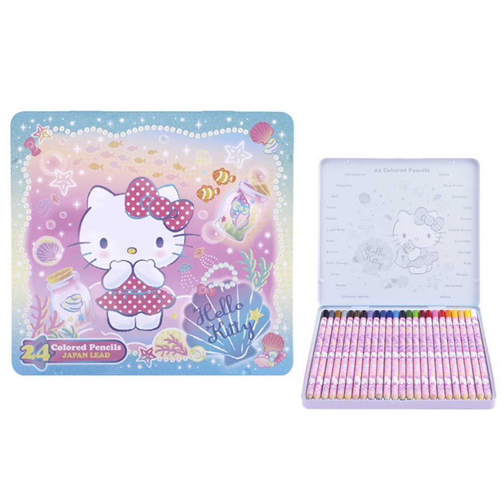 Hello Kitty 24 Colors Pencil Metal Box 鐵盒木顏色(24色)(5天內發貨)